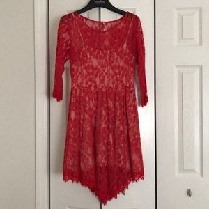 Red lace Free People dress size 8 w/ eyelash lace